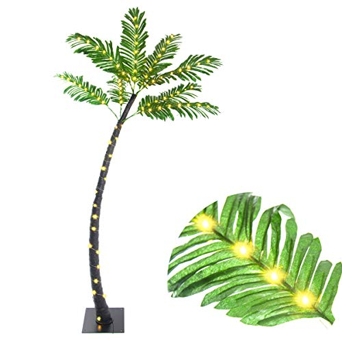 Elnsivo Light Up 5ft Palm Tree Lights,Lit Tropical Artificial Branch Lights with Copper Wire LEDs for Christmas,Patio,Outdoor,Wedding,Garden,Beach Decor(Coconut Tree Lights) (Light Tree Palm Up Outdoor)