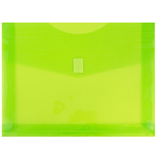 - JAM PAPER Plastic Expansion Envelopes with Hook & Loop Closure - Letter Booklet - 9 3/4 x 13 with 2 Inch Expansion - Lime Green - 12/Pack