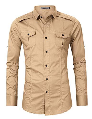 Shirts Military Khaki (Kuulee Men's Casual Slim Fit Short Sleeve Button Down Dress Shirts Cargo Shirt (L, Khaki-1))
