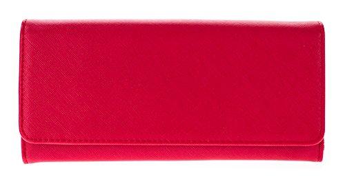 Leather Saffiano Bi Fold Wallet (Canal Collection Faux Saffiano Bi Fold Cross Body Clutch Wallet)
