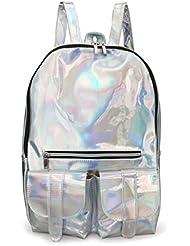 Silver Women Hologram Backpacks Reflective Mirror Surface Backpack Girls School Bookbag