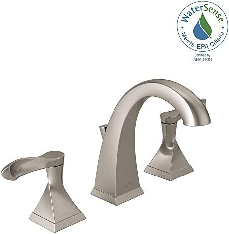Delta Everly 8 in. Widespread 2-Handle Bathroom Faucet with Metal Drain Assembly in SpotShield Brushed Nickel