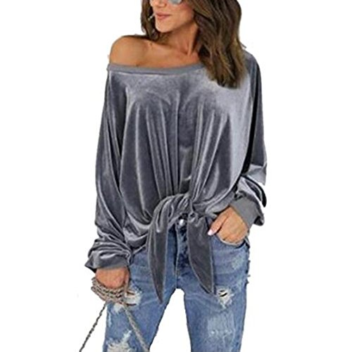 Velours Manches Blouse Tops Chemise Femmes Bow Longues Occasionnel Lache Femmes Gris Tops Pulls Juleya qvx8UYY