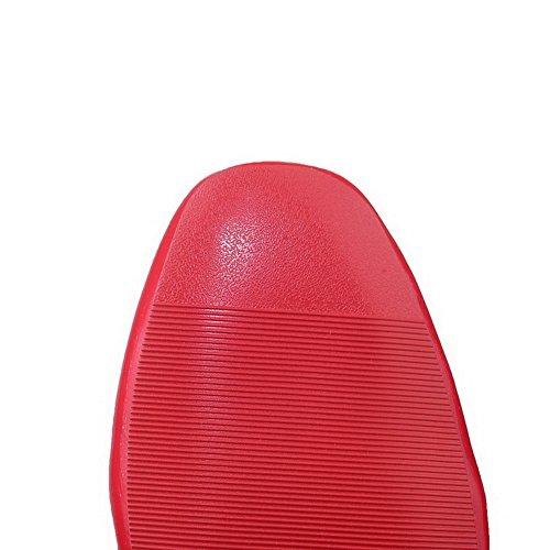 Tacones Gruesos Balamasa Para Mujer Con Punta Cuadrada, Corte Bajo, Empeines, Zapatos De Charol, Zapatos, Rojo