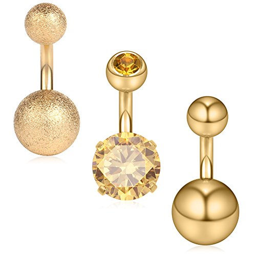 (Ruifan 3PCS 14G 6mm 1/4 Inch 316L Surgical Steel CZ Short Belly Earring Navel Button Rings Set - Gold)