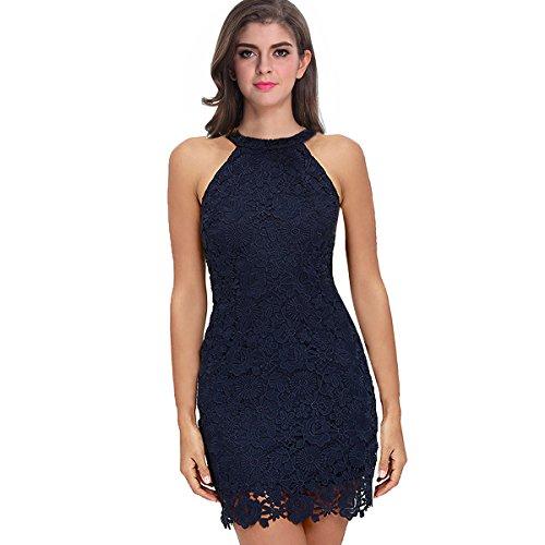 Sue&Joe Women's Sheath Dress Halter Floral Lace Crochet Above Knee Bodycon Dress, Navy Blue, (Blue Juniors Dress)