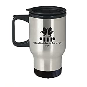 Jeep Travel Coffee Mug - Which One Is Coming Out To Play Today Stainless Steel Thermo & Beer Mug - Mother's Day, Birthday & Christmas Gift for Women, Mom, Daughter, Girlfriend, Wife & Grandma