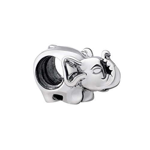 Elephant Charm Glass (Quiges 925 Sterling Silver 3D Animal Elephant Bead Charm)