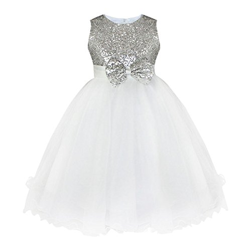 YiZYiF Little Girls' Sequined Wedding Party Princess Tulle Dress Silver 5-6 ()