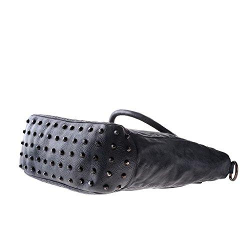 Borsa in pelle lavata tinta in capo con borchie e tracolla DUDU Black Slate Comprar Barato Reciente KTdAFUq