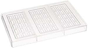 Fat Daddio's Dimpled Square Bar Polycarbonate Candy Mold, 3-Bars Per Tray