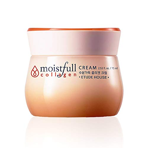 ETUDE HOUSE Moistfull Collagen Cream 2.5 fl. oz. (75ml) - Soft Moist Gel Type Moisturizing Facial Cream, 63.4% Super Collagen Water & Bobab Water Makes Skin Plumpy with Long Lasting Moist