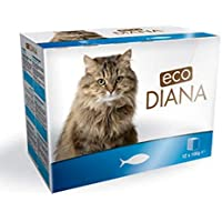 Eco Diana Complete Food for Cats, 12 Pouches of 100g, Chunks with Fish in Gravy