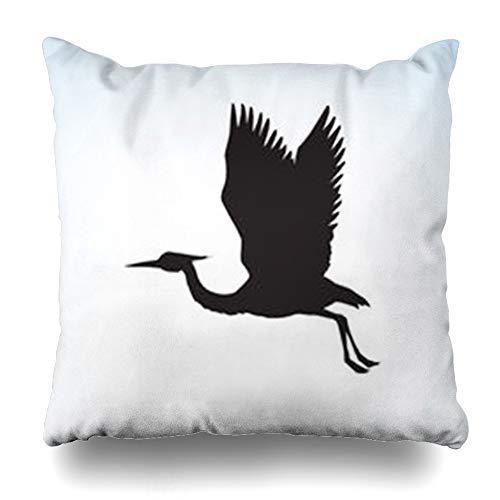 iDecorDesign Throw Pillow Covers Elegance Graceful Sandhill Shadoof Fly On Light Dark Long Ink in Retro Closeup Side View Space Wildlife Home Decor Pillow Case Square Size 20 x 20 Inches Pillowcase