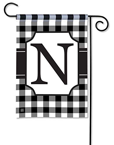 BreezeArt Studio M Black & White Check Monogram N Decorative Garden Flag - Premium Quality, 12.5 x 18 Inches]()