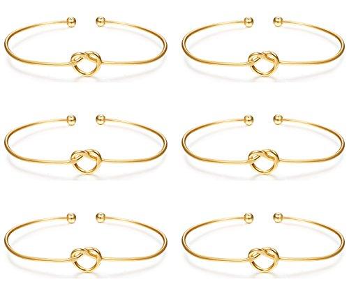 LOLIAS 6 Pcs Love Knot Bangle Bracelets Simple Cuffs Bracelets for Women Girls Stretch Bracelets Adjustable Gold-tone