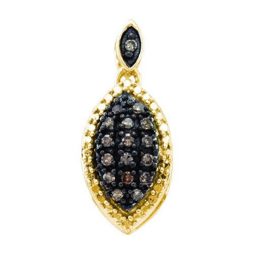 Marquise Cluster Pendant (Sonia Jewels 10k Yellow Gold Brown Chocolate and White Round Diamond Dangle Pendant in Cluster Marquise Shape Setting (.15 cttw))