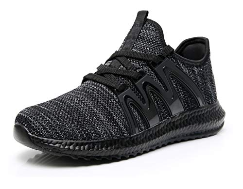 Azooken Men Tennis Racquetballs Shoes lace up Walking Training Gym Comfort Crossfit Trainers Sneakers Zapatos para Hombres BGY44 Black-Grey (Best Shoes For Step Aerobics 2019)