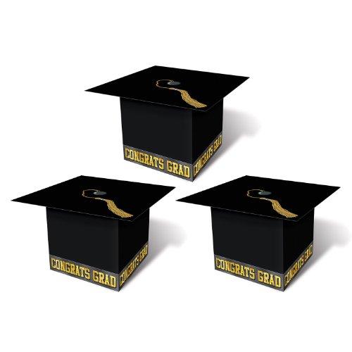 Beistle 54124-BK Grad Cap Favor Boxes, 31/4 by 31/4-Inch, Bl