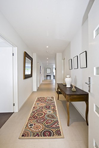 Ottomanson Ottohome Collection Contemporary Paisley Design Modern Hallway Runner Rug, 2'7
