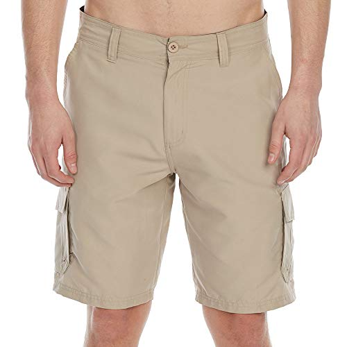 Burnside Guys' Microfiber Traveler Solid Cargo Shorts Stone Brown 36