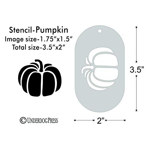 Stencil- Pumpkin, 1.75x1.5 Inch Image on 3.5x2 Border, Size 1 -