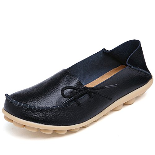 Susanny Women's Moccasin Driving Shoes Cowhide Casual Lace-Up Loafers Flats Slip-on Slippers Black Shoes 8 B (M) US