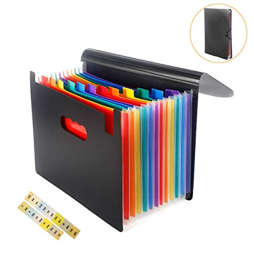 Expanding File Folder 12 Pockets, Accordion File Organizer with Cover Multicolor Expandable A4 Letter Size Document Briefcase Business Filling Box for Office School Home