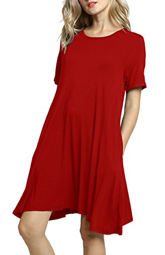 Size Sleeve Afibi Loose T Pockets Women's Shirt Plus Short Swing Casual Dresses Red OnOxpHqEr