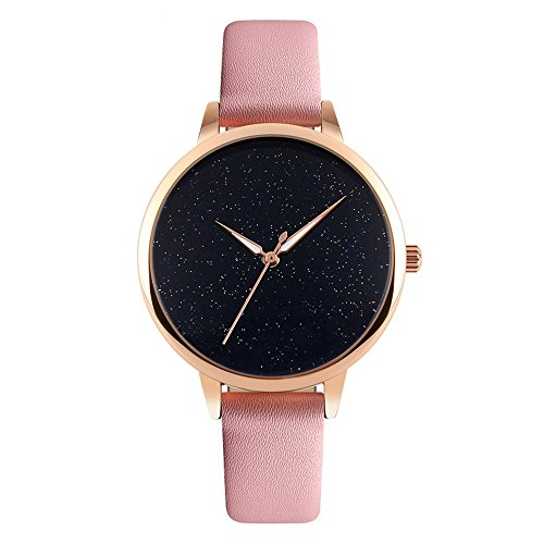 J.Market Quartz Watch Womens 30 Meters Waterproof Lady Watch Creative Starlight Dial with Genuine Leather Band (Pink)