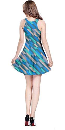 Cowcow Femmes Vecteur Coloré Abstrait Géométrique Robe Sans Manches Irisé Polygonale, Xs-5xl Rétro Bleu