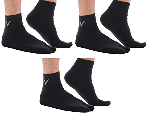 3 Pairs Combo - Athletic Flip Flop Socks V-Toe Tabi Sport Or Casual Wear - Black -