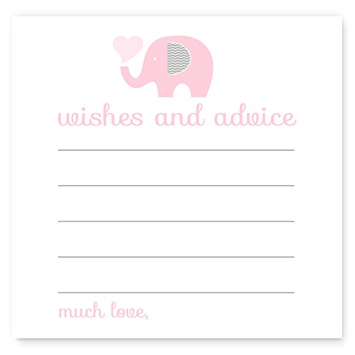 (Pink Elephant Advice Cards for Baby Shower Set of 25)