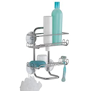 InterDesign Classico Suction Bathroom Shower Caddy Shelves for Shampoo, Conditioner, Soap - Silver