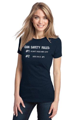 GUN SAFETY RULES Ladies' T-shirt / Funny Gun Military Police Shooting Tee