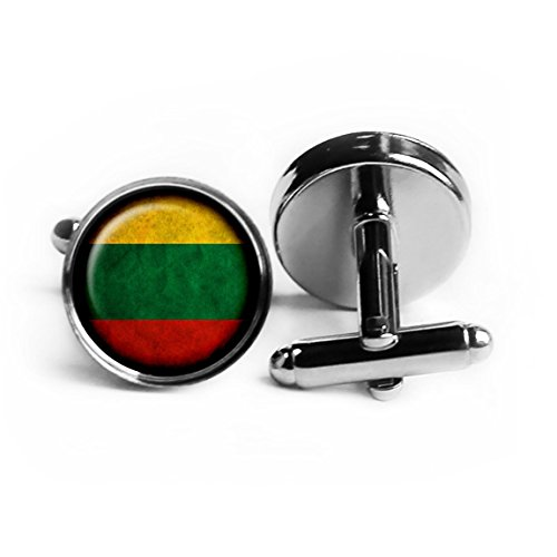 Lithuania Lithuanian Flag Silver Cufflinks