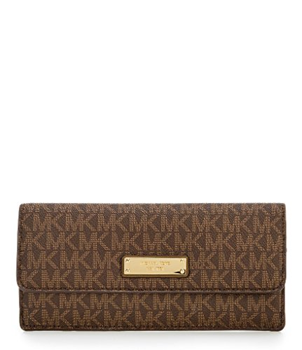 MICHAEL Michael Kors Signature Flat Wallet, Color Brown/Olive by Michael Kors