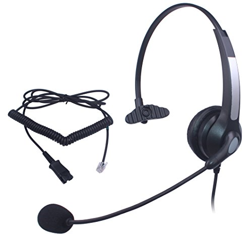 (Callez Corded Office Telephone RJ Headset with Flexible Noise Canceling Mic and Quick Disconnect for Toshiba Aastra Nortel NEC Mitel ShoreTel InterTel Talkswitch Iwatsu Packet8 IP Phones (300QDRJ1AA))