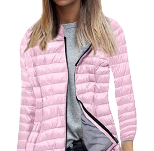 Howme Quilted Winter Women Fit Zip Jacket Hooded Full Relaxed Pink Warm cr8rCYwqx