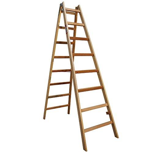 Bockleiter Massivholz 2x8 Stufen 48AW208