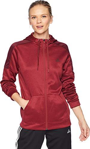 adidas Athletics Zip Team Issue Full Zip Sweatshirt, Fl Noble Maroon Mel/Fl Night Red Mel, Medium