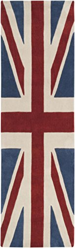 2.5' x 8' British Flag Red, White, & Blue Hand Tufted Polyester Area Rug Runner (8 Foot British Flag compare prices)