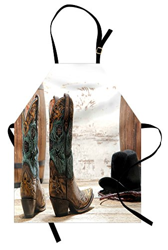 Lunarable Western Apron, American Rodeo Theme Cowgirl Design Leather Boots Fancy Hat Rustic Picture, Unisex Kitchen Bib Apron with Adjustable Neck for Cooking Baking Gardening, Brown Teal - Pictures Western Kitchen