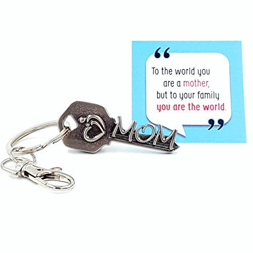 key2Bme MOM key - mother daughter son keychain & inspirational quote - the cute fun unique small perfect birthday mother day gift under $10 for giving baby shower mother to be in law daughter (Cheap Sympathy Gifts)