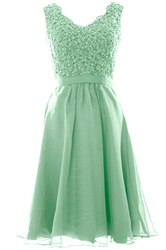 MACloth V Minze Prom Women Dresses Wedding Vintage Lace Party Gown Short Neck Chiffon rwrq57T