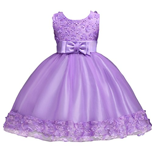 Baby Girl Short Lace Flower Princess Wedding Party Pageant Birthday Tutu Dress Evening Baptism Christening Gowns(12M-10T) Lavender 3 Years
