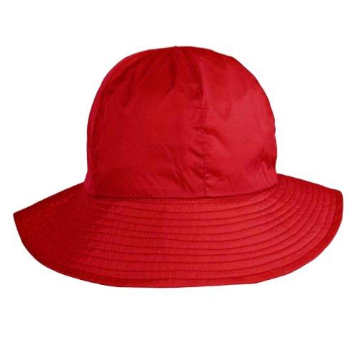 Red Reversible Rain Or Sun Style Bucket Hat (Bucket Style Rain Hat)