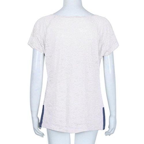 Shirt T V Camicetta Maglietta Sexy Top Donna Manica collo Buttons Bianco Con Camicia Rcool Corta xqgA1wPq7