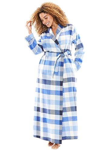 Dreams & Co. Women's Plus Size Long Flannel Robe Royal Periwinkle (Flannel Robe)