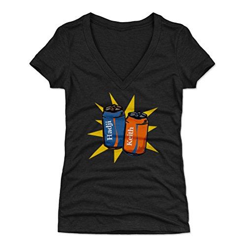 500 LEVEL Keith Hernandez Women's V-Neck Shirt (Large, Tri Black) - New York Mets Shirt for Women - Keith Hernandez Coke Cans B WHT ()